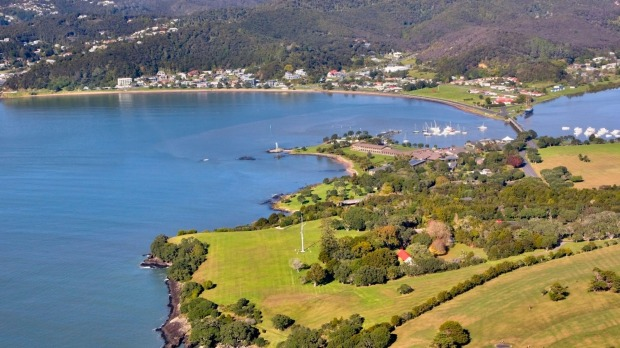 The Waitangi Treaty Grounds and the town of Paihia in the Bay of Islands, New Zealand.