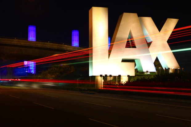 The LAX sign, Los Angeles.