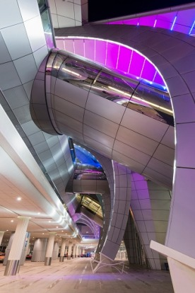 Modern architecture of Terminal 3 at Dubai International Airport.