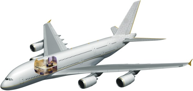 The private A380 superjumbo. Designs showed five master bedrooms with separate bathrooms, a concert hall, multiple ...