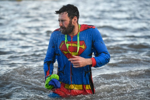 SOUTH About 1000 swimmers hit the water in front of the Forth Rail Bridge during the annual Loony Dook Swim in the River ...