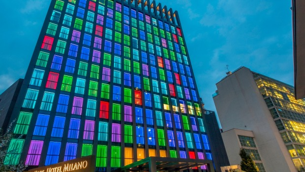 The strikingly illuminated LaGare Hotel Milano Centrale is an easy-to-find local landmark for guests.