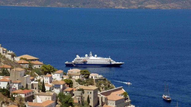 SeaDream at anchor off Hydra in Greece.