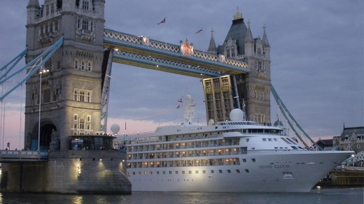 Silver Cloud under Tower Bridge in London.
