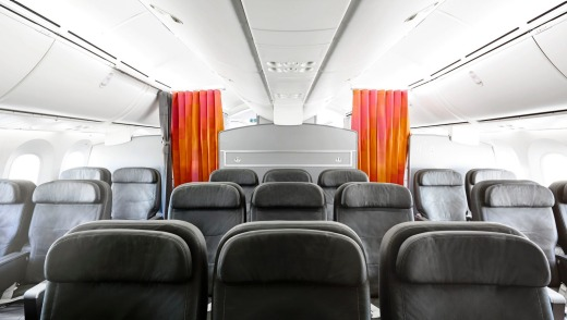 There are just 21 business-class seats,  in a 2-3-2 layout.