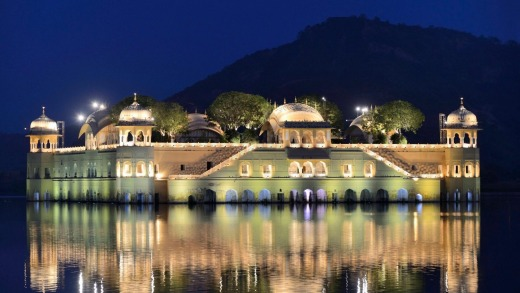 Jal Mahal Palace during the Diwali festival in Jaipur, Rajasthan, India.