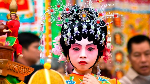 Child actors on a traditional parade on Chinese New Year in Guangzhou, China.