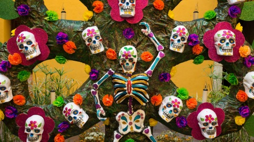 Decorations for the Day of the Dead celebration.