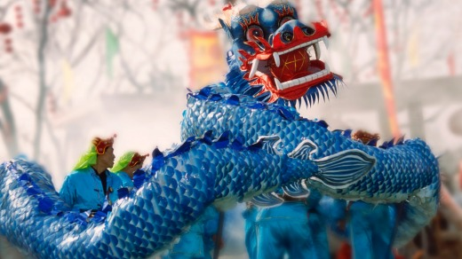A dragon dance performance celebrating Chinese New Year in Beijing, China.