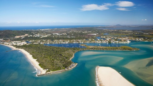 The mouth of the Noosa River on the Sunshine Coast.