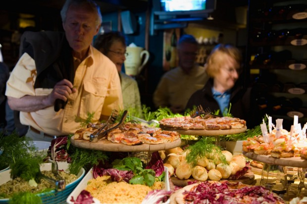 A selection of antipasti plates at a bar in Palermo, Sicily.