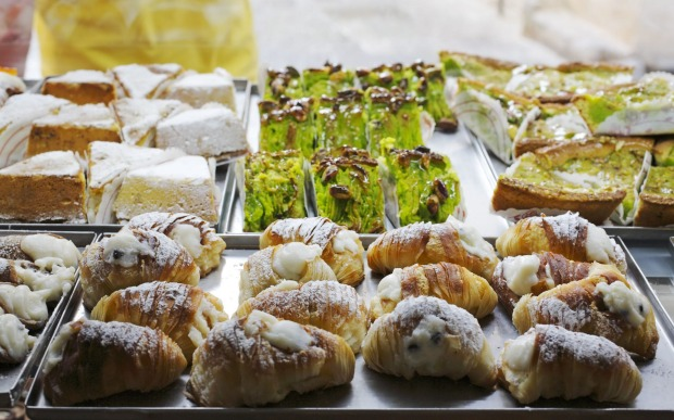 Selection of pastries, in Sicily, Italy.