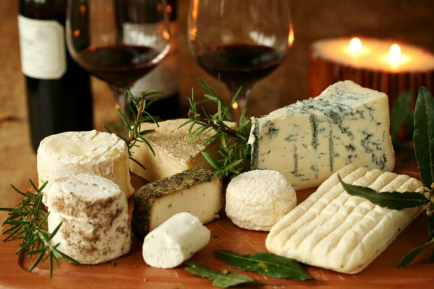 Red Italian wine and traditional cheese.