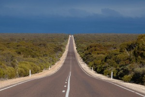 Straight ahead: a stretch of the Eyre Highway in South Australia.