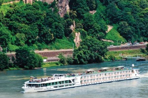 A Scenic ship on the Rhine Gorge in Germany.