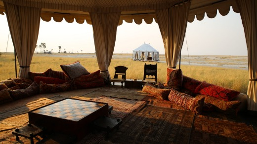 The luxurious San Camp in Botswana