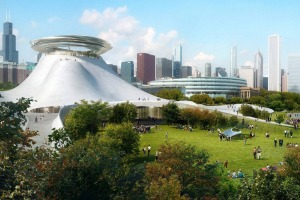 An early design for the Lucas Museum of Narrative Art when Chicago was the likely location.