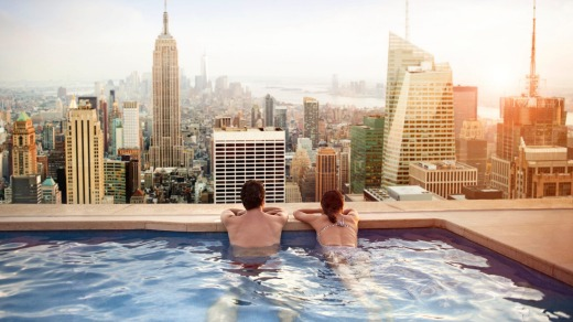 Take a dip: A hotel rooftop over looking New York City.