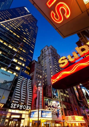Neon lights of 42nd Street, Times Square, Manhattan, New York City.