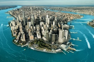 Magnetic: Manhattan island in New York City.