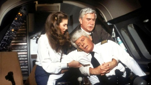 Both pilots were incapacitated in 1980 comedy film <i>Flying High!</i>, leaving passengers to land the plane.