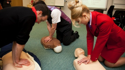 Virgin Atlantic flight attendants undergo medical training. All airlines are required to provide first aid training for ...
