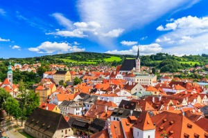 The red roofs of Cesky Krumlov, Czech Republic.