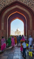 Entering through the main gate, the first glimpse of the Taj Mahal is breathtaking.