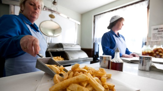 An traditional fish and chip shop at the Black Country Living Museum.
