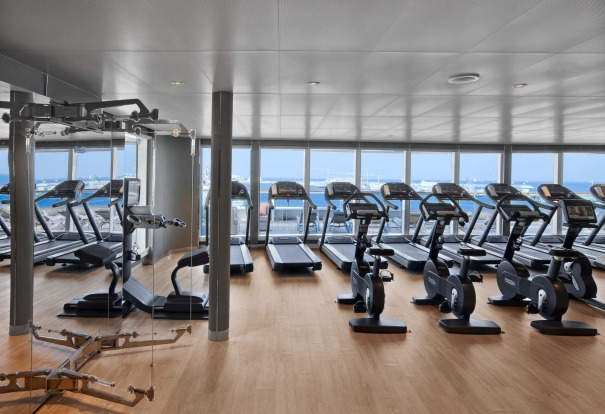 The gym on board Seabourn Encore.
