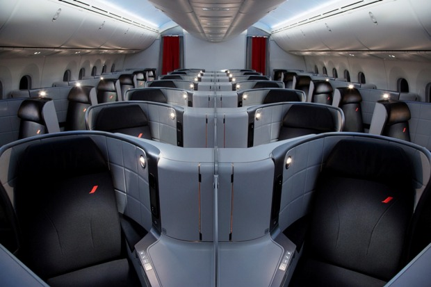Business class on board the Air France Boeing Dreamliner 787.