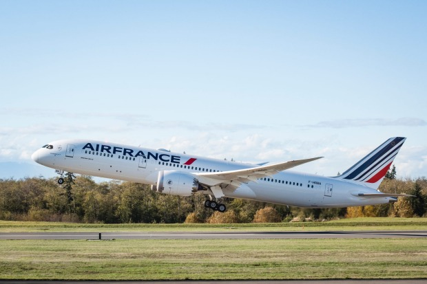 The Air France 787 Dreamliner takes off.