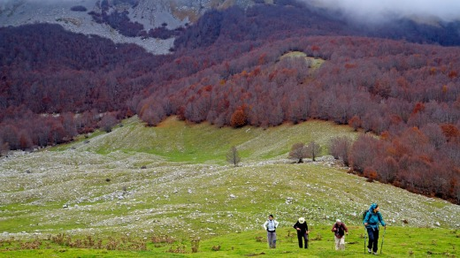 Hikers on the Piano de Pollino plain in Pollino National Park.