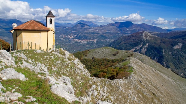 The Madonna del Socorso chapel on a hilltop near Maratea.