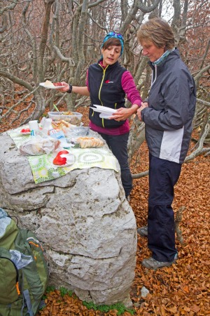 Hiking lunch in the mountains of Pollino National Park.