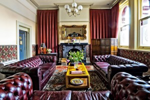 Guests at the Old Bank Boutique Hotel can relax in the dramatic lounge  and library that dominate the front of the building.