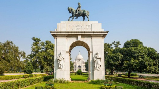 The entrance gate at Victoria Memorial.