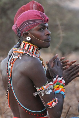 Samburu man sporting dance attire.
