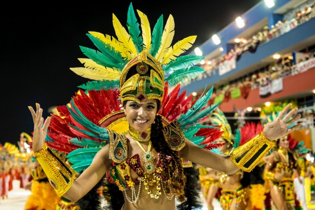 A local samba school performing during the Carnaval Parade, Brazil.