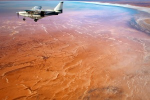 Aerial view of Lake Eyre National Park, South Australia.