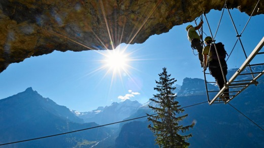 The famous ladder of the via ferrata Allmenalp (Kandertal).