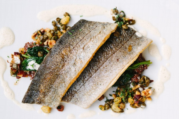 Redbird's Wyoming Golden Trout with sultana raisins, oregon hazelnuts, spinach, quinoa and brown butter, Downtown LA.