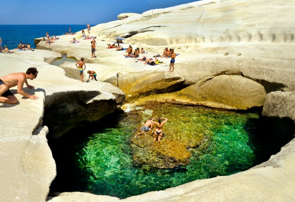 SARAKINIKO BEACH, MILOS, GREECE: Natural erosion created the amazing landscape at this part of Milos Island in Greece. ...