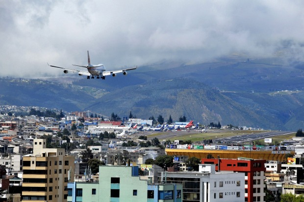 QUITO, ECUADOR. The 4.1-km runway is the longest of any international airport in Latin America, and at an elevation of ...