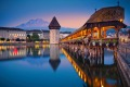 A twilight blue hour shows Lucerne in all its glory.