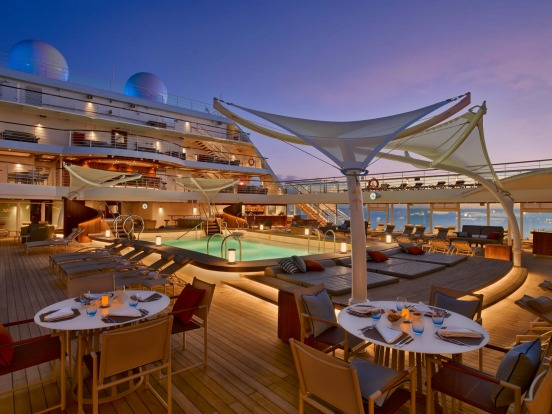 Seabourn Encore pool deck:  Seabourn Encore: Seabourn's latest and largest cruise ship, carrying 600 passengers, started ...