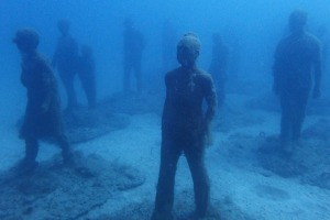 Sculptures created by Jason deCaires Taylor in Museo Atlantico, an underwater museum off the coast of Lanzarote, Spain.