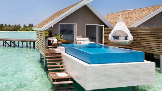 A water villa with pool.