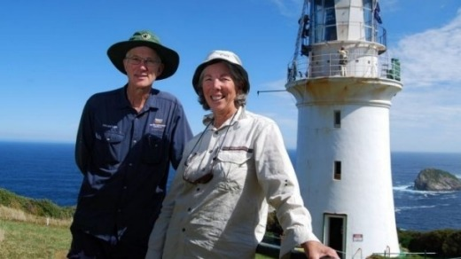 Volunteer couple Joss Hablien and Trish McDonald who looked after the island for six months.