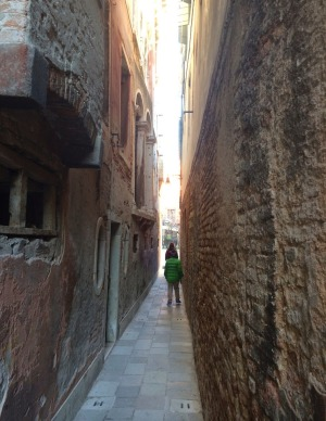Walking through the laneways in Venice.